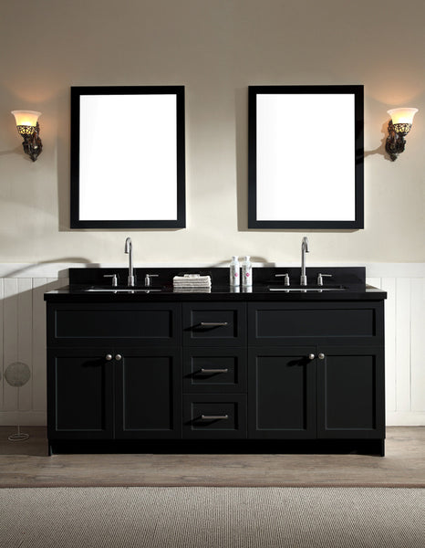 "Ariel Hamlet 73"" Double Sink Vanity Set - Black Granite or White Quartz Countertop"