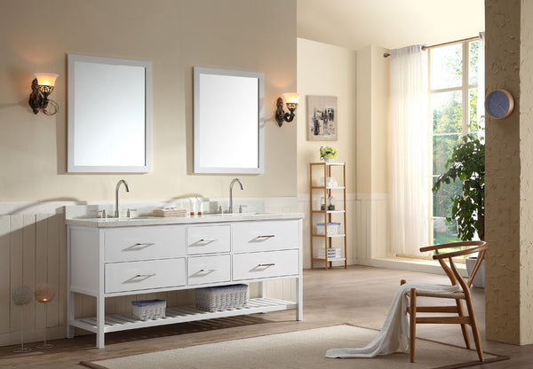 "Ariel Shakespeare 73"" Double Sink Vanity Set in White"