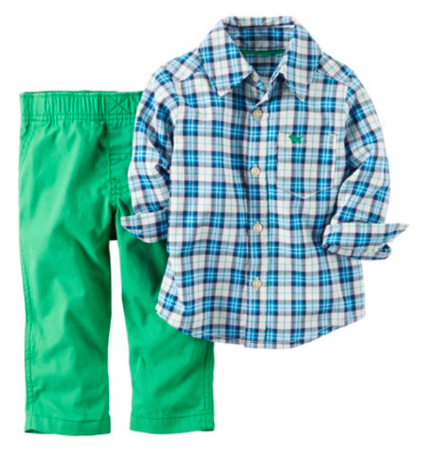 Green 2- Piece Pants & Shirt Set
