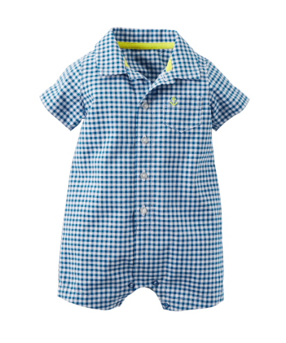 Gingham Plaid Button Front Romper