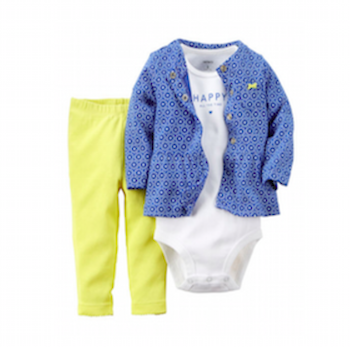 Blue & Yellow Cardigan Set