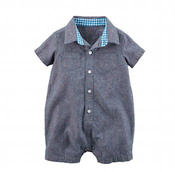 Chambray Button Front Romper