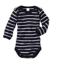 Blue Striped Long Sleeved Bodysuit