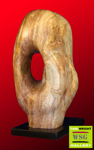 """Kanryuu"" Alabaster Abstract Stone Sculpture"