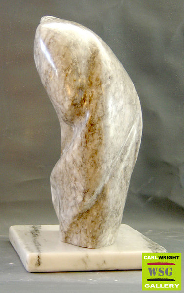"""Momentum"" Abstract Alabaster Stone Sculpture"