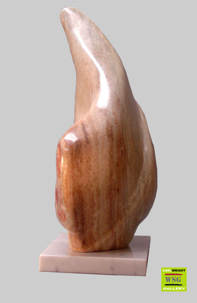 """Noboru"" Abstract Alabaster Stone Sculpture"