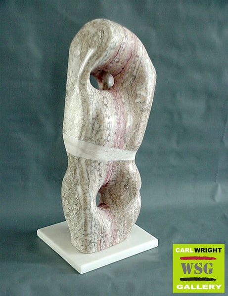 """Ukei"" Alabaster Abstract Stone Sculpture"
