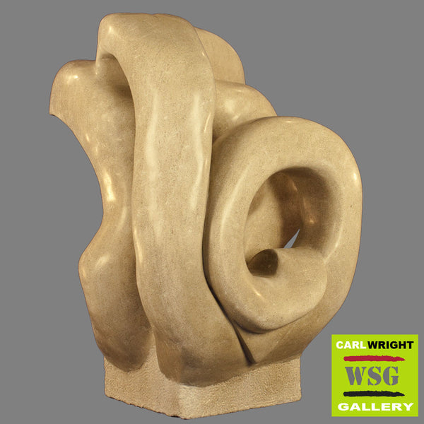 """Sound of Joy"" Indiana Limestone Abstract Sculpture"