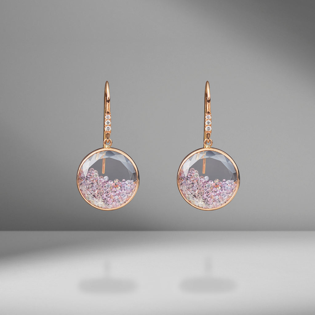 Pink Sapphire & Diamond Shaker Earrings
