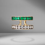 Prive Diamond and Emerald Double Band Ring