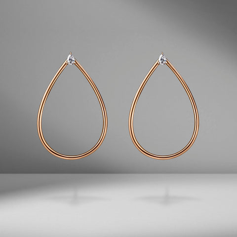 Pear Shape Hoop Earrings with Pear Diamonds by Anita Ko