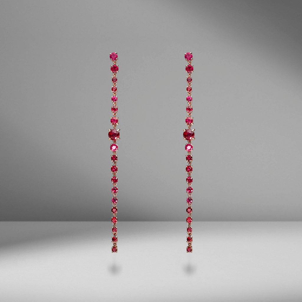 Long Ruby Rope Earrings