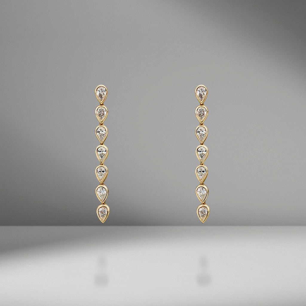 Pear Diamond Bezel Drop Earrings
