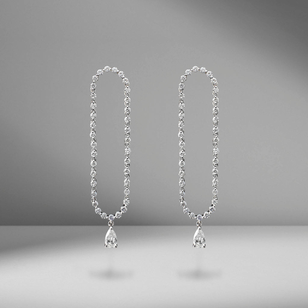 Hudson Pear Diamond Drop Earrings