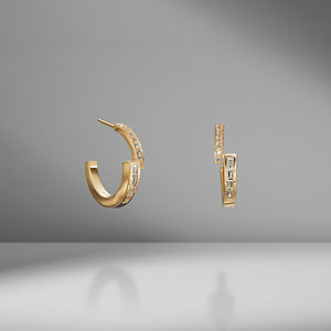 Pavé and Baguette Diamond Hoops