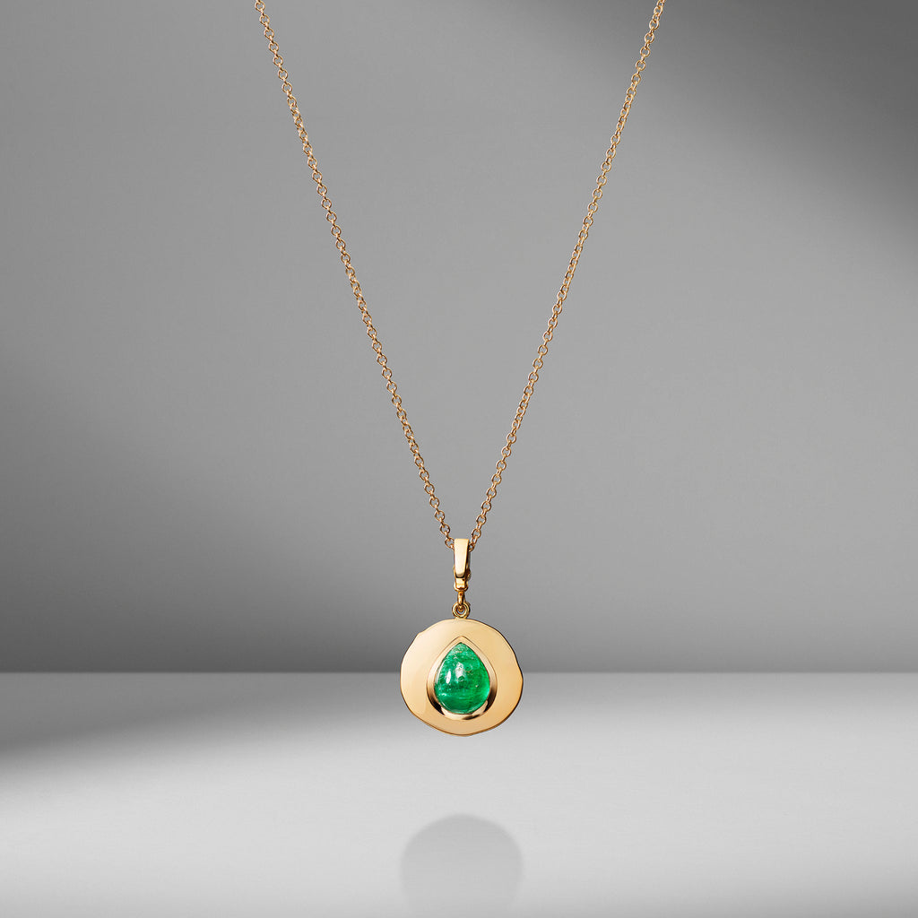 Modern Byzantine Emerald Small Coin Charm Necklace