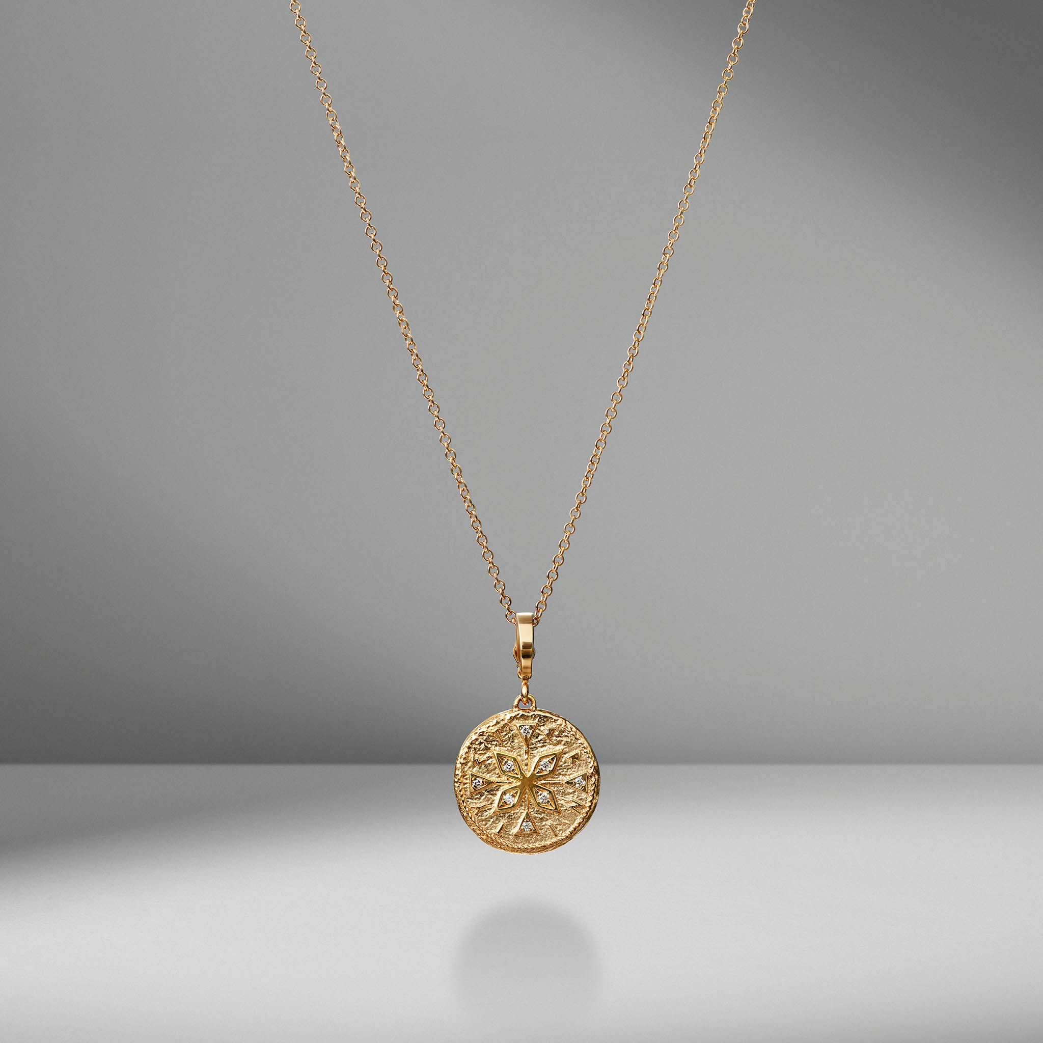 Small Compass Diamond Coin Charm Necklace