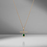 NESW Emerald Diamond Charm Necklace