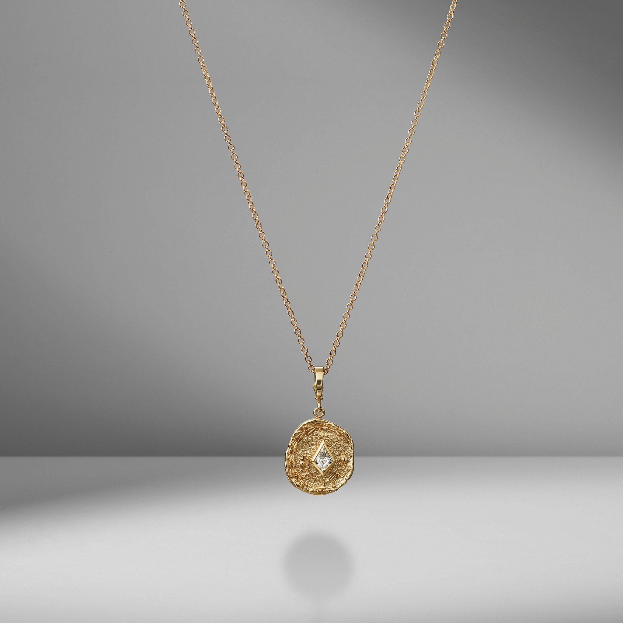 Small Olive Branch & Rose Bud Kite Diamond Coin Charm Necklace