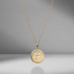 Lion Venetian White Glass Coin Charm Necklace With Scattered Diamonds