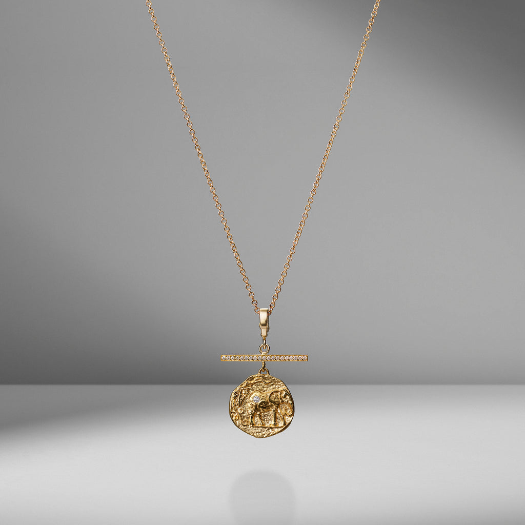 Elefante Small Diamond Coin Necklace with Pave Diamond Bar