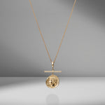 Goddess Small Diamond Coin Charm Necklace with Pavé Diamond Bar