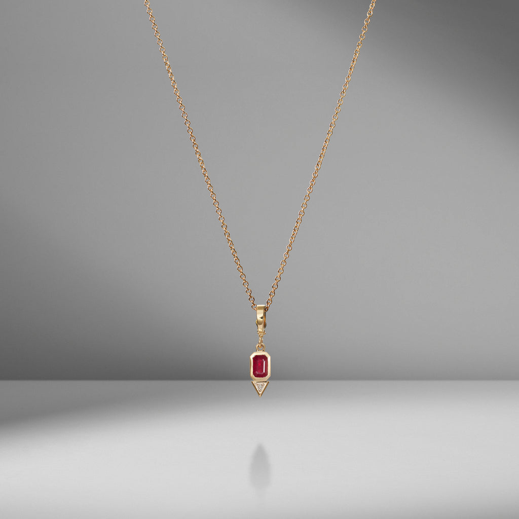 Ruby and Trillion Small Diamond Charm Necklace