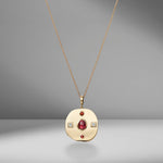 Large Byzantine Rhodolite & Diamond Coin Charm Necklace