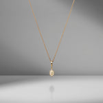 N/S Small Diamond White Enamel Charm Necklace