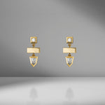Bullet Gold Bar Diamond Earrings