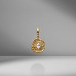 Small Olive Branch & Rose Bud Kite Diamond Coin Charm