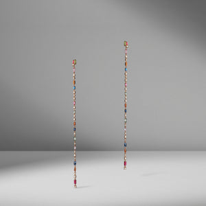 Long Rainbow Sapphire Earrings