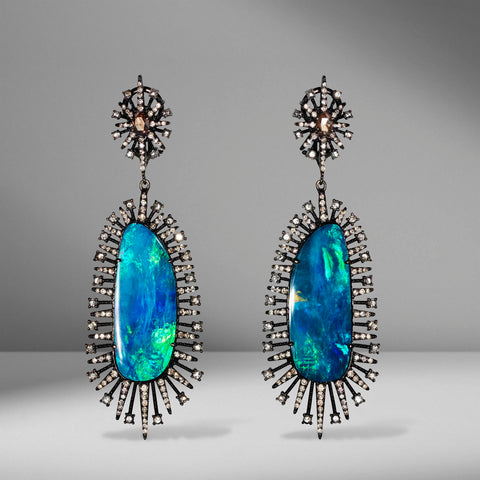 Opal and Diamond Earrings by Sutra