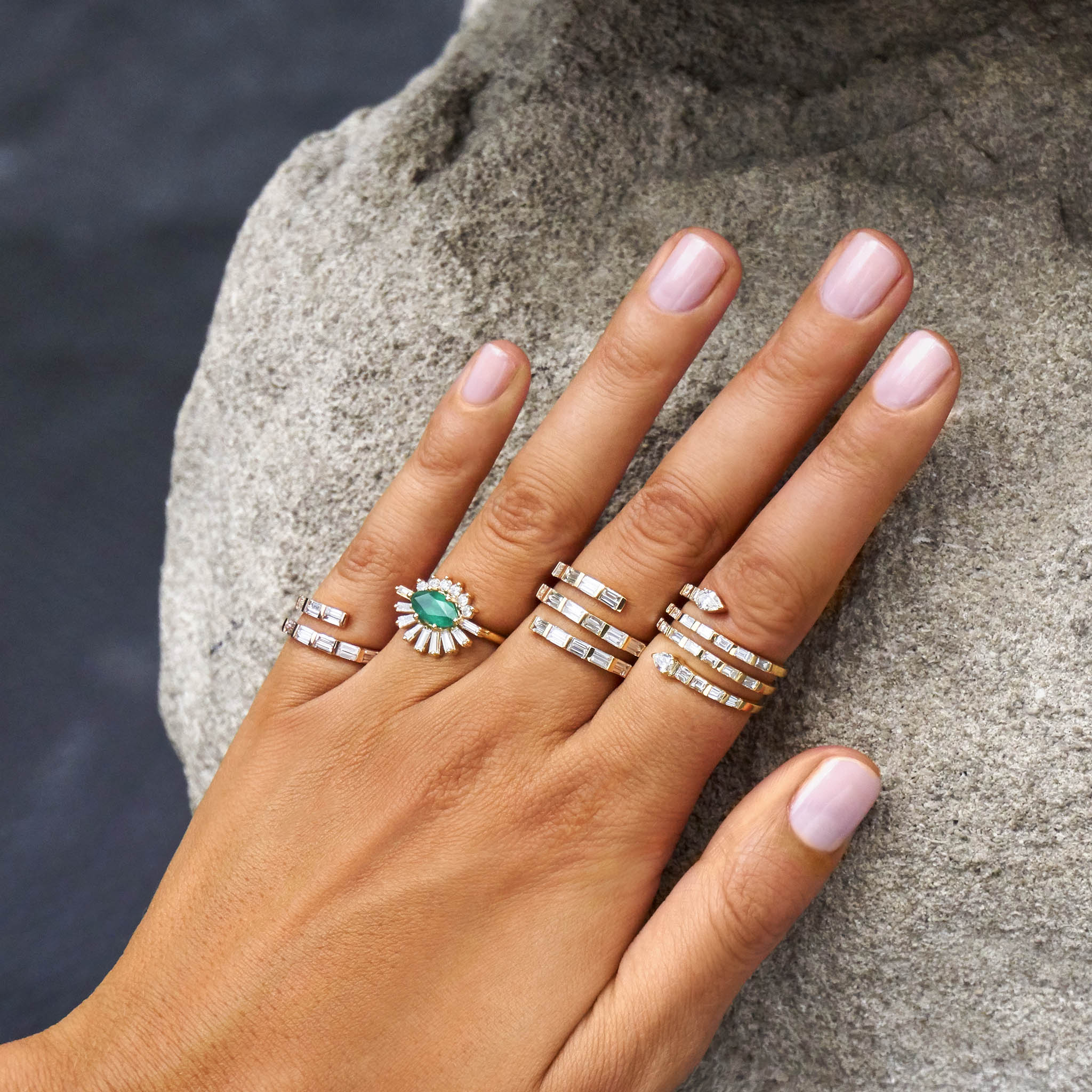 Dual Spiral Baguette Ring