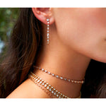 Long Multi Shape Diamond Loop Earrings