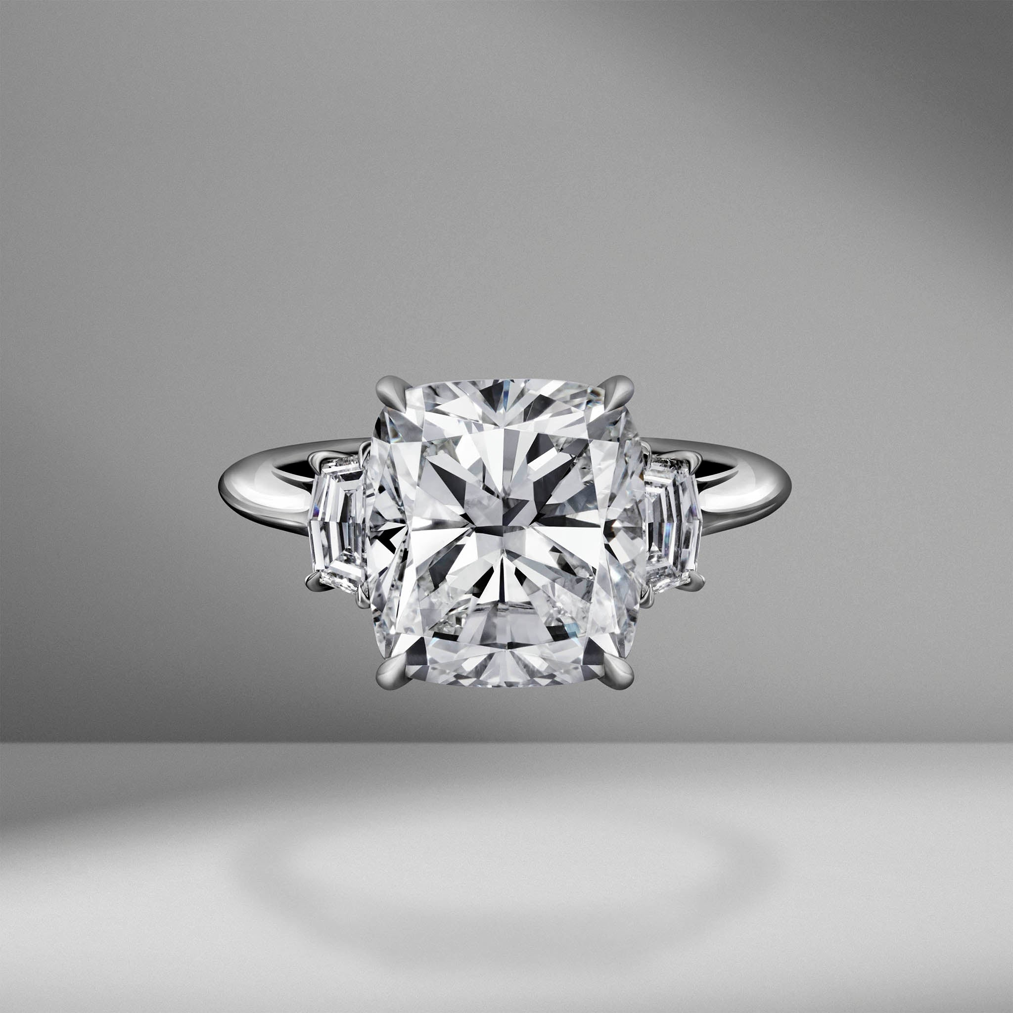 Cushion Cut Engagement Ring with Cadillac Cut Diamonds