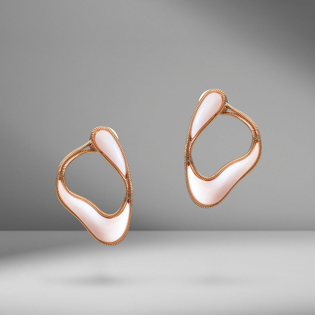 Stream Line Pink Opal Loop Earrings