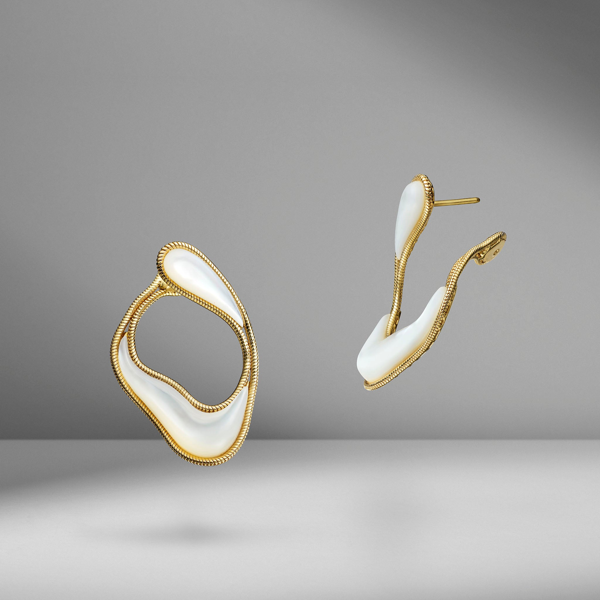 Stream Line Mother-of-Pearl Loop Earrings