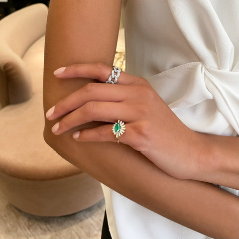 Emerald & Diamond Evil Eye Ring