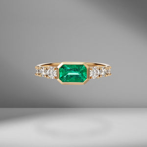 Toujours Bezel Set Emerald and Diamond Ring