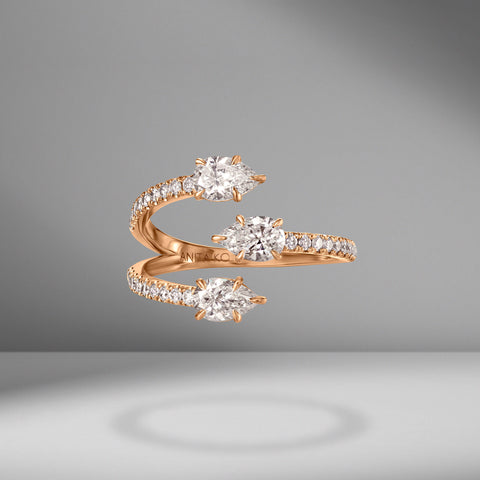 Three Stone Claw Diamond Ring With Pave Band