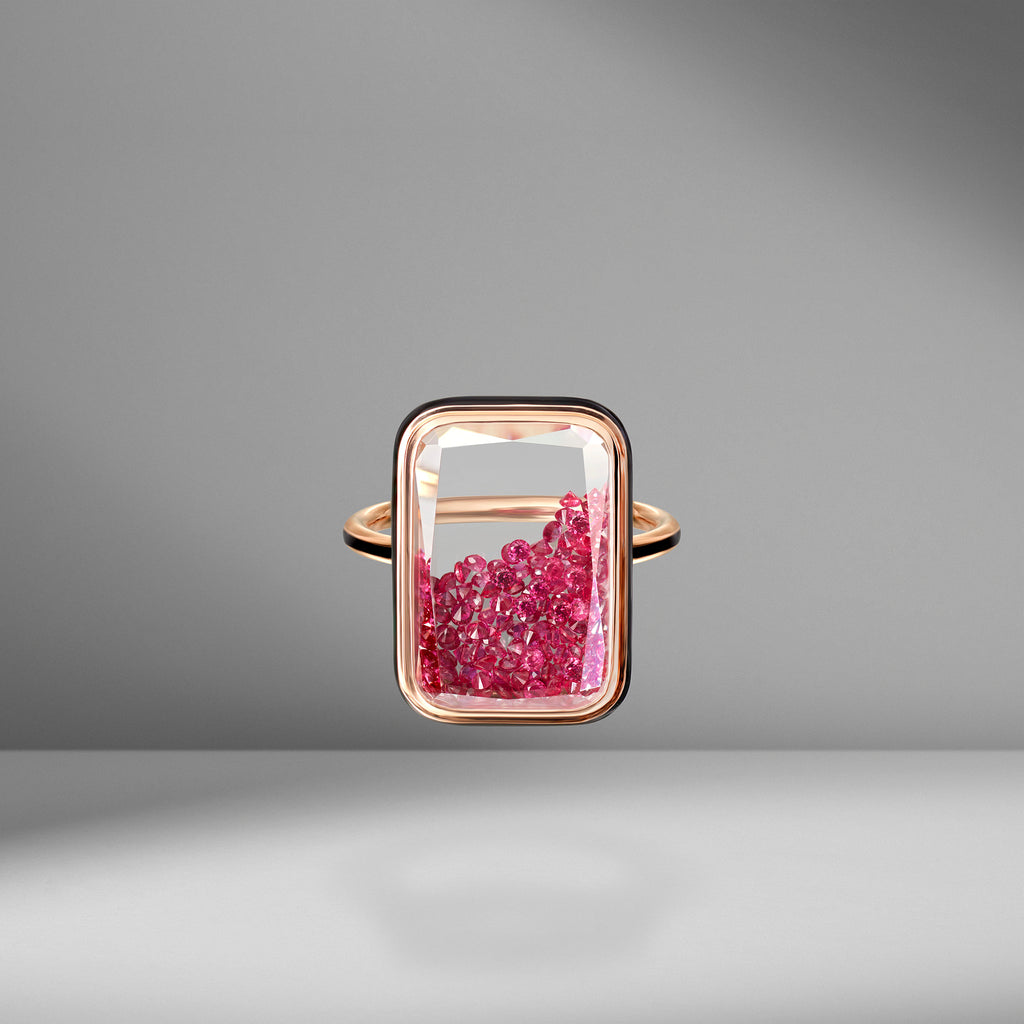 Ruby & Black Enamel Shaker Ring