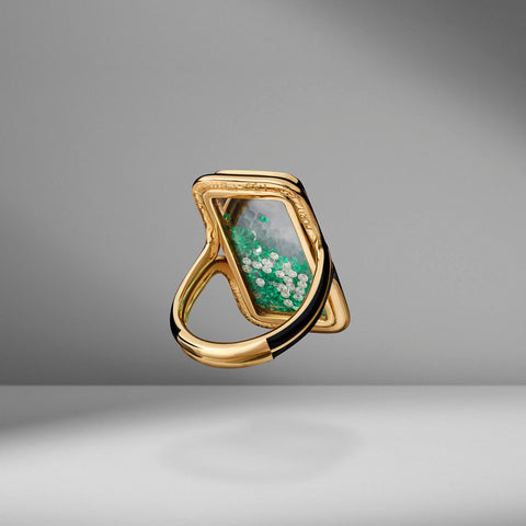 Emerald & Diamond Shaker Ring