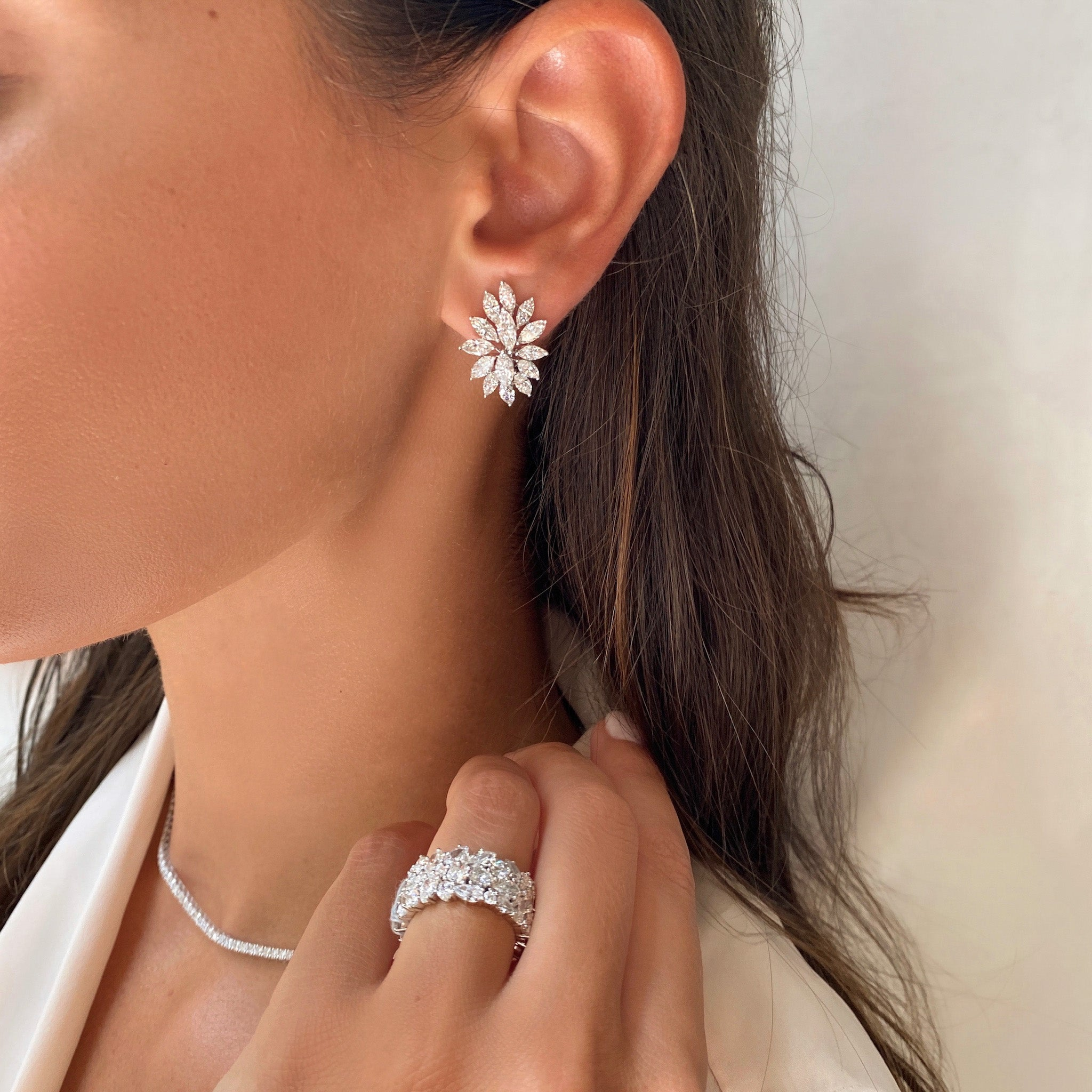 Marquise Diamond Cluster Earrings