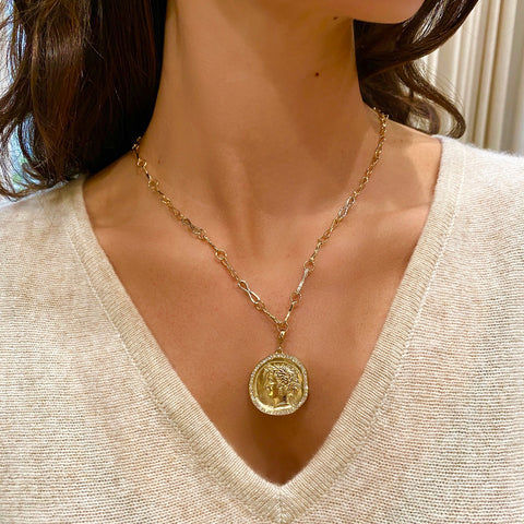 Large Goddess Pave Coin Charm