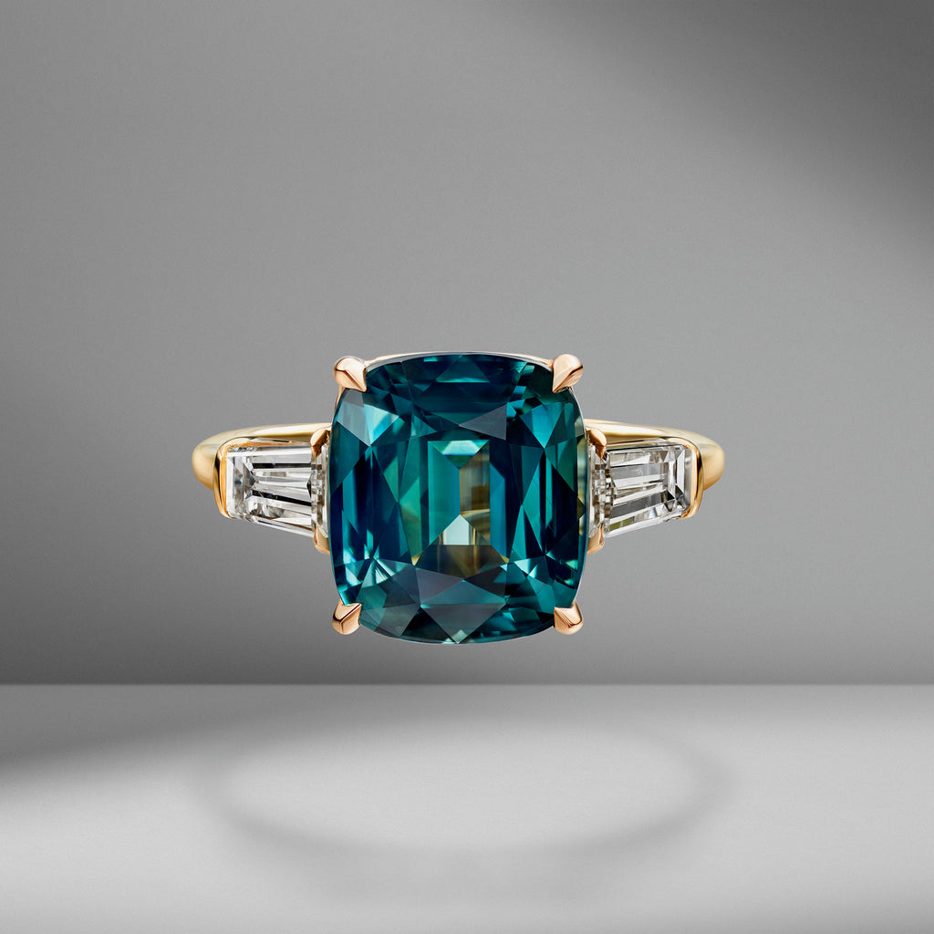 Teal Sapphire Cushion Cut Ring