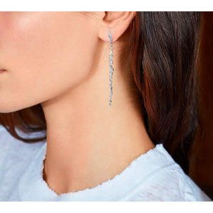 White Gold Long Firework Baguette Earrings
