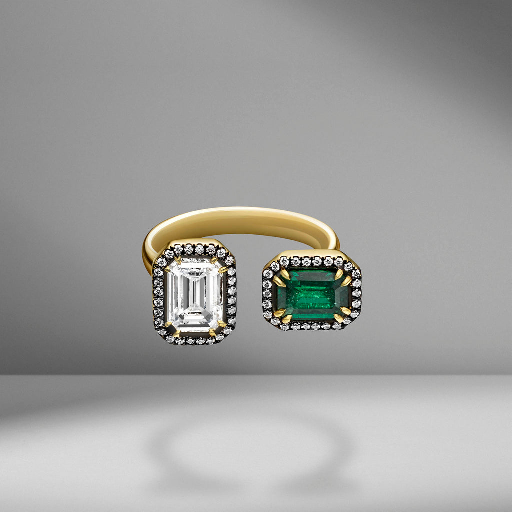 Emerald Cut Diamond & Emerald Open Ring
