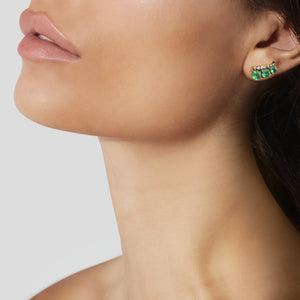 Prive Emerald And Diamond Ear Climbers by Jemma Wynne - Jemma Wynne