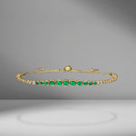 Emerald & Diamond Slider Bracelet